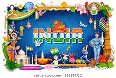 Similar Images, Stock Photos & Vectors of illustration of India background showing its incredible culture and diversity with monument, dance and festival - 546931870 Independence Day Theme, Independence Day Activities, Happy Independence Day Images, Independence Day Decoration, 15 August Independence Day, Independence Day Wallpaper, India Independence, Soft Board Decoration, School Board Decoration