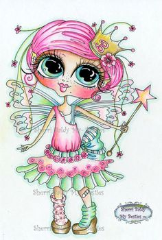 INSTANT DOWNLOAD Digital Digi Stamps Big Eye Big Head Dolls Digi Scan0001 Fairy Besties By Sherri Baldy