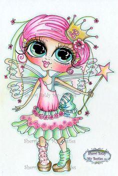 INSTANT DOWNLOAD Digital Digi Stamps Big Eye Big Head Dolls Digi Scan0001 Fairy Besties By Sherri Baldy