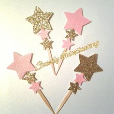 Star Cupcake Toppers 12CT. Ships in 3-5 by SweetlyIntoxicating