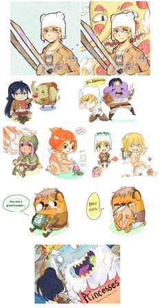 Adventure Time x SNK by Pasuteru-Usagi.deviantart.com............ I liteally died at jake/jean and bmo/marco D: