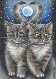 Tabby Cats Valentines Art Painting #Realism