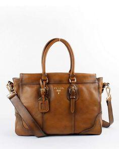 Prada Milled Leather Tote Bag - 6034 Tan