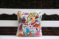 Multi colored Otomi Sham backed and piped with handwoven