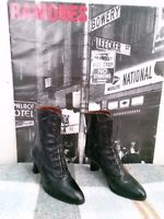 VTG. MORGAN TAYLOR BLACK LEATHER VICTORIAN LACE UP GRANNY BOOTS WOMENS SZ 7.5 N
