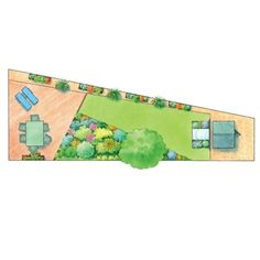 how to make most of triangle garden...maybe do a wood deck area like here.