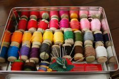 Felt Mouse Tutorial - My Organized Thread Box - corks used for embroidery thread organization Embroidery Floss Storage, Embroidery Thread, Hobby Lobby Fabric, Finger Puppet Patterns, Lovely Tutorials, Thread Organization, One That Got Away, Felt Mouse, Cross Stitch Supplies