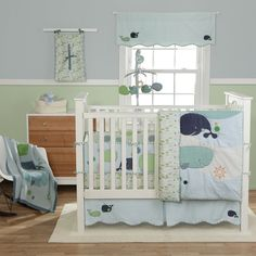 Whales and fish tales! Create an original nursery theme with Bananafish's Little Whale crib bedding set. Bright colors and great blue whale appliques will grow with baby. This baby bedding set would look great for girls, boys, or a unisex theme. Sued