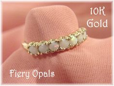 10K Gold - Fiery Opal Cocktail Ring - Size 7 - Estate Antique - Gift Box - Perfect Christmas Gift - Birthday Anniversary - FREE SHIPPING by FindMeTreasures on Etsy