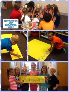 Students working on a paper version of their Kindness Quilt!