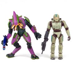 "Halo 2 MASTER CHIEF vs. ELITE Purple Green 3"" Mini Action Figures Joyride 2005 #JoyrideStudios"