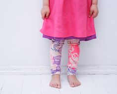 Fun neon animal print - Glow in dark leggings for children.