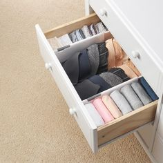 Drawer Divider - The One Thing I Bought (& Still Use!) After KonMari-ing My Entire Home Dresser Drawer Organization, Home Organisation, Bedroom Organization, Diy Drawer Dividers, Underwear Organization, Underwear Storage, Clothing Organization, Clutter Organization, Clothing Storage
