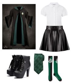 """Slytherin outfit"" by xamazingkittenx ❤ liked on Polyvore featuring George, Cufflinks, Inc. and Boohoo"