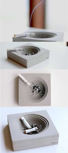 Handmade Square Concrete Cigar Cigarette Ashtray