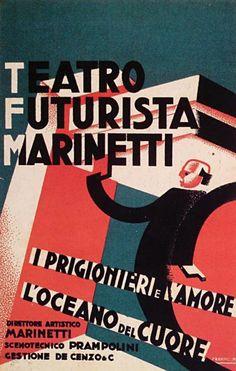 Enrico Prampolini, Cartolina per i Prigionieri e l'amore e L'Oceano del cuore, opere marinettiane rappresentate nel 1927