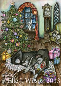 The Nutcracker Christmas  Greyhound Dog Print  by AlmostAnAngel66, £15.00