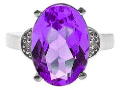 Large Diamond and Oval Cut Amethyst Sterling Silver Ring Available Exclusively at Gemologica.com