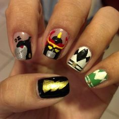 Power ranger nails #nails #nailart