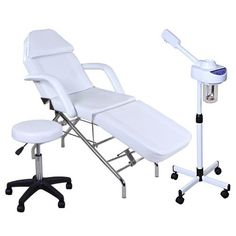 """""""Pristine"""" White Facial Package by SalonGuys. $239.99. This traditional facial bed has thick foam cushions which are covered with a white PVC vinyl material for years of durability. Its light weight design provides all the comforts of a large bed but with boundless mobility.Facial steamer is equipped with ozone function, adjustable spray arm, plastic jar, and a stand with a four-caster base.Facial Packages Includes..."""