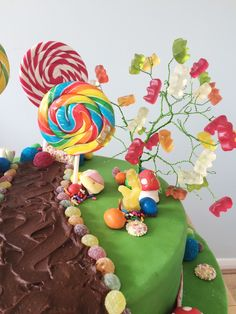 Charlie and the Chocolate Factory cake - Gummy Bear tree and edible decorations