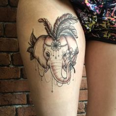 Fresh WTFDotworkTattoo Find Fresh from the Web Elephant on the thigh by…