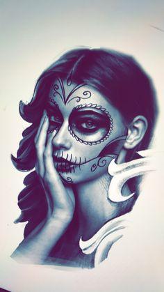 Ideas For Tattoo Ideas Female Sleeve Sugar Skull Dia De Tattoo Girls, Skull Girl Tattoo, Girl Tattoos, Tatoos, Trendy Tattoos, New Tattoos, Tattoos For Guys, Chicano Love, Chicano Art