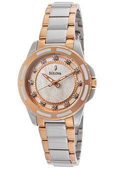4a3748c8959 Bulova Diamond White Mother of Pearl Dial Ladies Watch