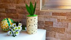 DIY pineapple style upcycled organiser - sprayed with Pintyplus mustard Chalk Spray Paint, Gloss Spray Paint, Inside A House, Dry Well, Upcycled Crafts, Mustard, Pineapple, Craft Projects, Recycling