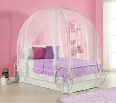 Carriage Metal Frame Bed White Princess Twin Canopy Ornate Fantasy Girl Bedroom