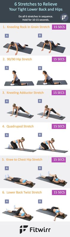 Release your tight lower back and hips by performing these 6 basic static stretches 2-3 days a week.:
