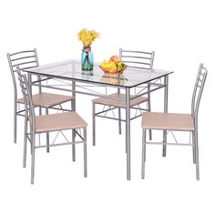 5 Piece Dining Set Table And 4 Chairs Glass Top Kitchen Breakfast Furniture New #Goplus
