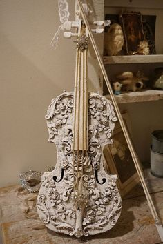 Violin art piece real instrument shabby cottage chic roses scrolling leaves vintage rhinestone embellished ooak decor anita spero design by anitasperodesign. Explore more products on http://anitasperodesign.etsy.com