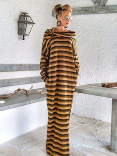 Warm Wool Turtle Neck Maxi Dress Kaftan /  Winter Warm Long Dress / Plus Size Dress / Oversize Loose Dress / #35169