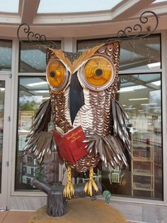 Wise Owl, Copperfields - Novato, CA Patrick Amiot Art Sculpture Art, Sculptures, Wise Owl, Junk Art, Sonoma County, Recycling, Amazing, Artwork, Work Of Art