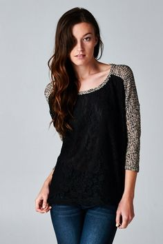 Knit Dianna Top in Black Lace | Women's Clothes, Casual Dresses, Fashion Earrings & Accessories | Emma Stine Limited