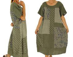 IA700OL Mesdames robe d'olive surdimensionnés patchwork lin longue tunique à manches courtes vintage Gr. 44 46 48 50