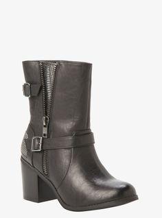 78f9a409181c Torrid Metal Mesh Side Moto Boot (Wide Width) Black Moto Boots
