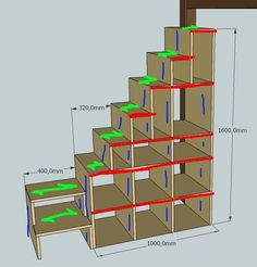 Exemple de plan escalier mezzanine – – Keep up with the times. Tiny House Stairs, House Staircase, Tiny House Living, Tiny House Plans, Staircase Design, Cozy House, Living Room, Bed Stairs, Attic Stairs