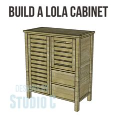 Build a Lola Cabinet - A cabinet with open slatted doors, two drawers, and lots of style!