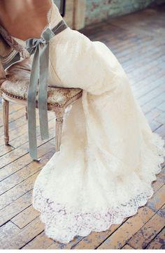 Romantic Lace Wedding Dress with blue velvet bow