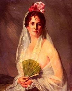 Handmade Oil Painting Reproductions of A Lady With A Fan, Oil Painting by Eduardo Zamacois y Zabala