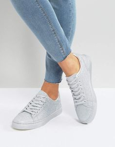 New Look All Over Glitter Sneaker Lace Up Trainers d8897300317a1