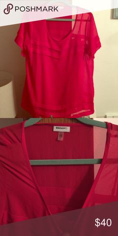 Dknyc sheer red dbl later top Beautiful top! Never wore this it was a gift it's just been hanging in my closet so someone else needs to enjoy it! It's a beautiful bright red and looks huge in the pic but actually fits really nicely... DKNYC Tops Blouses