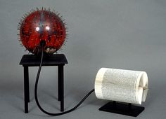 Xpulsion, the book is connected by a rubber tube to a bowling ball covered in tiny spikes to evoke a land mine. Check out more bizarre works of book art at flavorwire.com