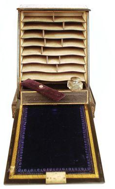 Antique Nineteenth Century Black Lacquer Boite  à Courrier/ Letter Box