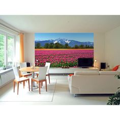 Ideal Decor 100 in. x 0.25 in. Tulips Wall Mural-DM137 at The Home Depot