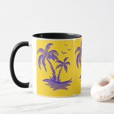 Black Mug with Palm Trees in Yellow&Blue - black gifts unique cool diy customize personalize
