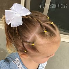 Today I did 6 ponies along the hair line, then I did 3 rope twists by combining 2 ponies for each twist! Then pulled all of the hair into a… - Kids Hairstyles Easy Toddler Hairstyles, Dance Hairstyles, Cute Girls Hairstyles, Princess Hairstyles, Braided Hairstyles, Gorgeous Hairstyles, Natural Hairstyles, Short Hairstyles, Short Haircuts