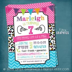 Tumble Jump Flip Cheer. Super Fun Colorful Leopard by MTipsy, $16.00